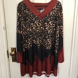 Lily by Firmiana Tunic Top Size 1X Leopard Print